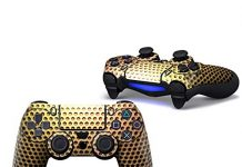 Sololife Golden Metal PS4 Controller Skin Stickers for Sony Playstation 4 DualShock Wireless Controller