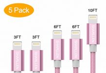 SHARLLEN Phone Cable 5Pack [3/3/6/6/10FT] Nylon Braided USB Charging & Syncing Extra Long Cord Compatible iPhone X/8/8 Plus/7/7 Plus/6s/6s Plus/SE/iPad iPod Nano (Rose Gold)...