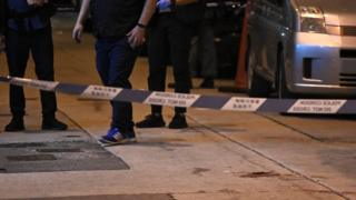 Blood is visible at the scene where Hong Kong protest leader Jimmy Sham was attacked in the Mongkok district of Kowloon, 16 October 2019