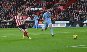 John Lundstram of Sheffield United scores his side's first goal.