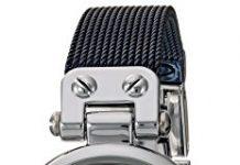 Anne Klein Women's Diamond-Accented Silver-Tone and Blue Mesh Bracelet Watch
