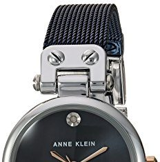 Anne Klein Women's Diamond-Accented Silver-Tone and Blue Mesh Bracelet Watch