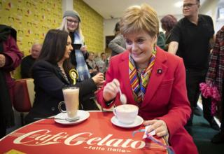 SNP leader Nicola Sturgeon has a coffee in a cafe in Rutherglen in Glasgow, during the General Election campaign.