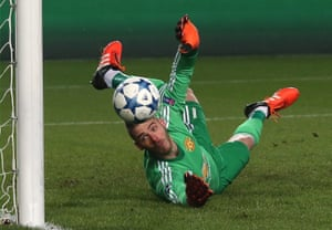 David de Gea of Manchester United saves a penalty during the Champions League match against CSKA Moscow in October 2015.