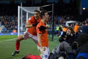 Brighton & Hove Albion's Lewis Dunk (right) celebrates scoring his side's second goal with teammate Anthony Knockaert during the Championship match at Fulham in January 2017.