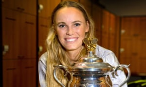 Caroline Wozniacki shows off the trophy after winning the Australian Open in 2018, ending her long wait for a grand slam title.