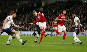 Middlesbrough's George Saville scores a late goal to set up a nervy finish for Tottenham.