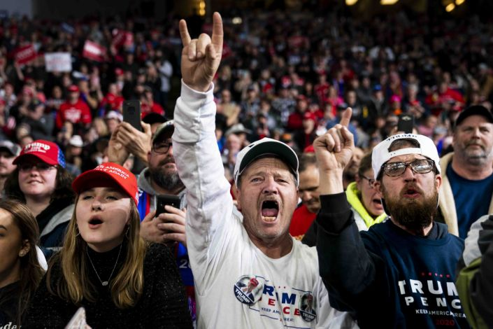 Attendees cheer during a campaign rally for President Donald Trump at the Huntington Center in Toledo, Ohio, Jan. 9, 2020. (Doug Mills/The New York Times)