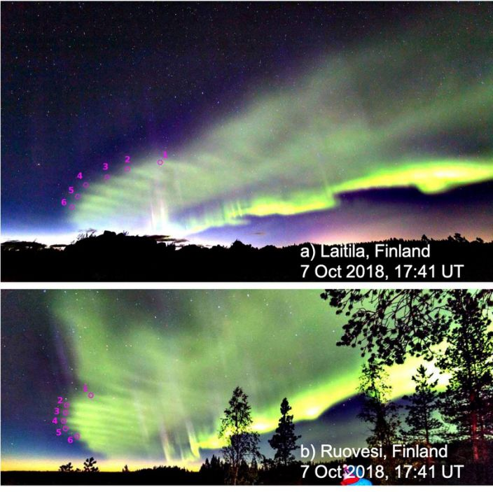 """Auroral dunes photographed on October 7, 2018 near Laitila, Finland (top) and Ruovesi, Finland (bottom). The two photographs were taken simultaneously. The dunes are marked by magenta circles and numbers. <p class=""""copyright""""><a href=""""https://news.agu.org/press-release/citizen-scientists-discover-new-type-of-aurora-named-the-dunes-video-available/"""" rel=""""nofollow noopener"""" target=""""_blank"""" data-ylk=""""slk:AGU Advances/Palmroth et al."""" class=""""link rapid-noclick-resp"""">AGU Advances/Palmroth et al.</a></p>"""