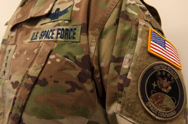 The U.S. Space Force puts its own nametape on what looks like a standard-issue woodland camouflage uniform. (U.S. Space Force Photo via Twitter)