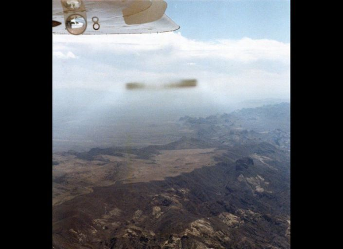 This cigar-shaped UFO was photographed by general aviation pilot David Hastings as he piloted a Cessna Skymaster plane over the Mojave Desert on Sept. 9, 1985. There has never been an indication of hoax in this case, which remains unexplained to this day.