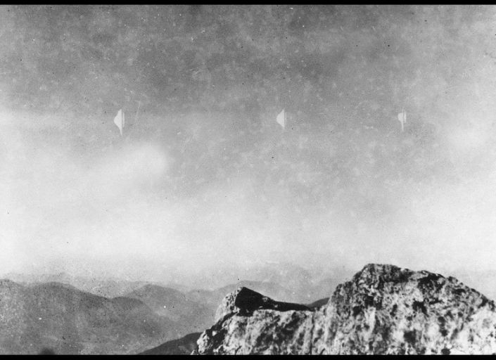 While descending an Austrian mountain in 1954, photographer Erich Kaiser captured an image of what he called mysterious silvery-white flying objects.