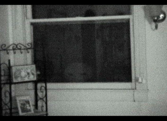 Stan Romanek claimed that this still image from a three-minute video he shot in 2003 shows an alien looking into his home in Nebraska. In the film, a strange face appears to be popping up and down outside Romanek's window.