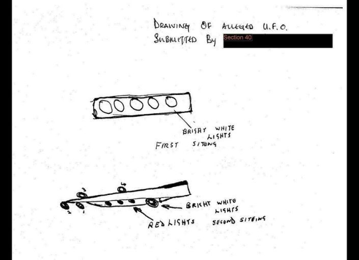 This eyewitness drawing of an alleged UFO sighting is in one of 19 once-secret files posted to the British National Archives website. The files cover sightings reported between 1986 and 1992. Although many of the reports were debunked, some remain unexplained.