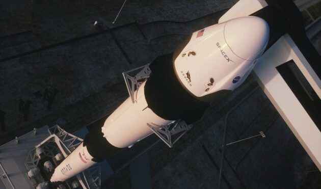 SpaceX's Crew Dragon spaceship sits atop a Falcon 9 rocket at NASA's Kennedy Space Center in Florida. (SpaceX Photo)