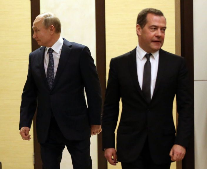"""<span class=""""caption"""">Russian President Vladimir Putin (L) and now-former Prime Minister Dmitry Medvedev (R) in Sochi, Russia, Dec. 7, 2019. </span> <span class=""""attribution""""><a class=""""link rapid-noclick-resp"""" href=""""https://www.gettyimages.com/detail/news-photo/russian-president-vladimir-putin-and-russian-prime-minister-news-photo/1186838144"""" rel=""""nofollow noopener"""" target=""""_blank"""" data-ylk=""""slk:Mikhail Svetlov/Getty Images"""">Mikhail Svetlov/Getty Images</a></span>"""