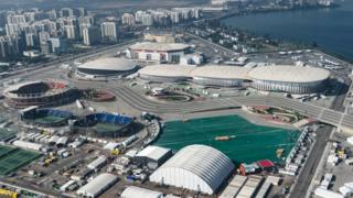 Aerial view of the Olympic Park in Rio de Janeiro on 26 July 2016