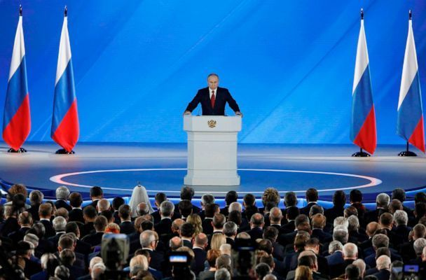 PHOTO: Russian President Vladimir Putin addresses the Federal Assembly at the Manezh exhibition hall in downtown Moscow on Jan. 15, 2020. (Shamil Zhumatov/Pool via AFP/Getty Images)