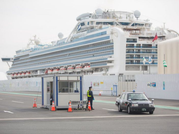 Former passengers of the Diamond Princess cruise ship board a taxi to leave after spending weeks in quarantine due to coronavirus fears.