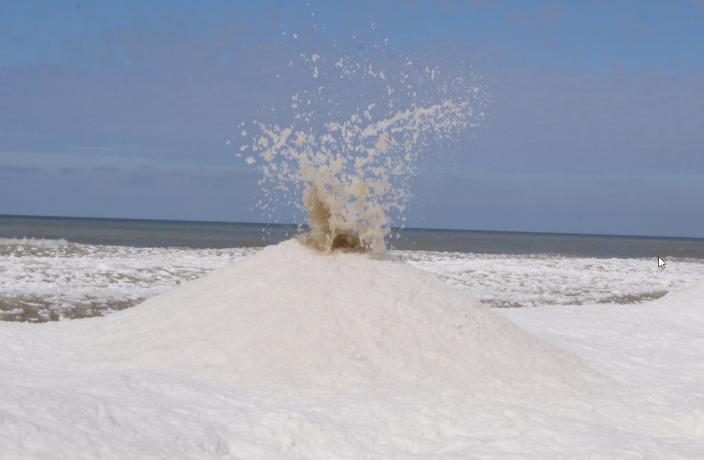 'Ice volanoes' erupt on Lake Michigan on Sunday Feb. 16