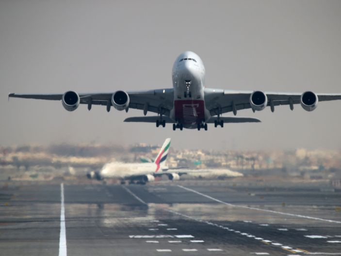 FILE PHOTO: An Emirates Airline Airbus A380-800 takes off from Dubai International Airport in Dubai, United Arab Emirates February 15, 2019. REUTERS/Christopher Pike