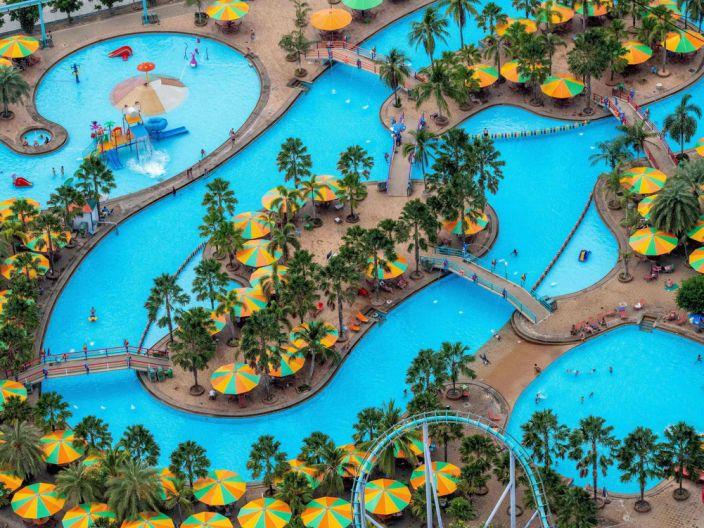 Water Park empty in Patayya Thailand during coronavirus outbreak