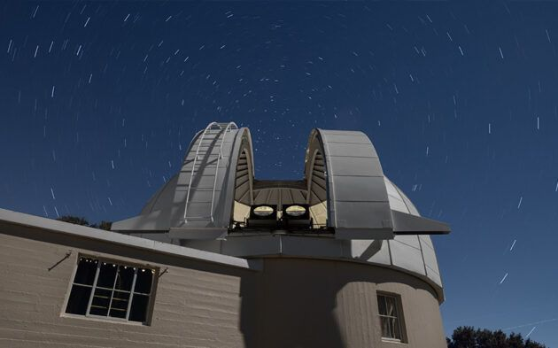 Two PANOSETI telescopes are installed in the recently renovated Astrograph Dome at the Lick Observatory in California. PANOSETI will use a configuration of many SETI telescopes to allow simultaneous monitoring of the entire observable sky. (© Laurie Hatch Photo via UCSD)