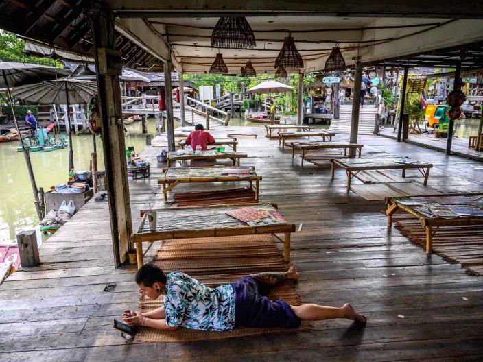 Empty food court at floating market in Pattaya during coronavirus outbreak