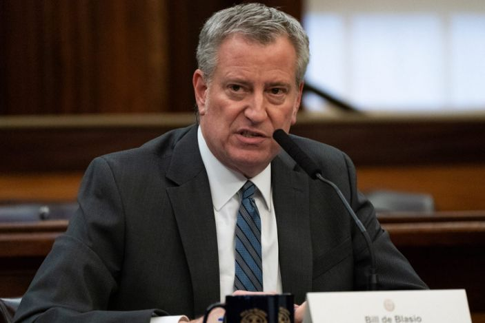 New York City Mayor Bill de Blasio speaks during a news conference for the outbreak of Coronavirus disease (COVID-19) at City Hall in the Manhattan borough of New York City, New York, U.S., March 17, 2020.