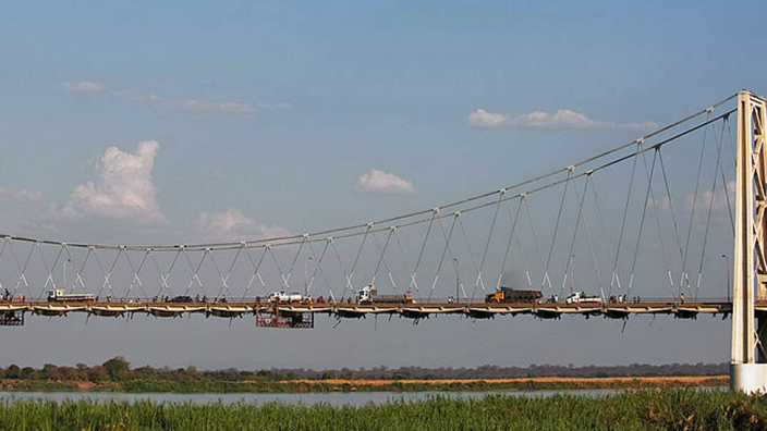 The lorry was found in Moatize, near this bridge crossing the Zambezi river