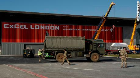 London's Excel Centre is being turned into a temporary hospital.