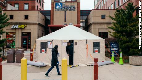 A Covid-19 testing tent outside of Norwegian American Hospital in Chicago on March 26, 2020.