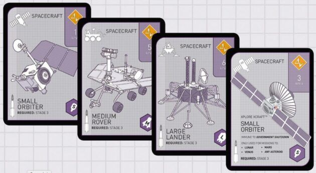 Xplore's Xcraft space probe is featured on the Xtronaut 2.0 card at far right. (Xplore / Xtronaut Illustration)