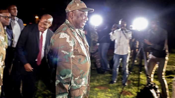 President Cyril Ramaphosa greeted troops prior to their deployment