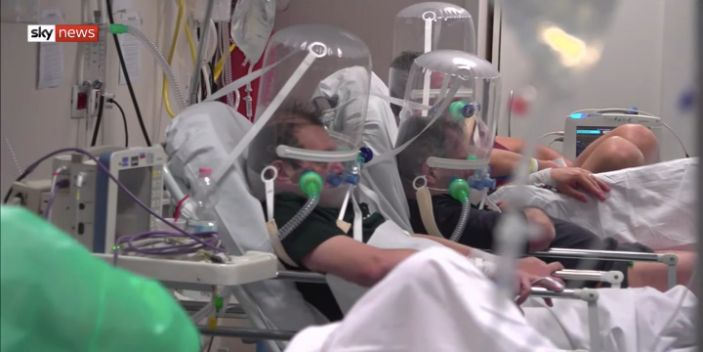 A still from footage inside a hospital in Bergamo, Italy, broadcast by Sky News on March 19.