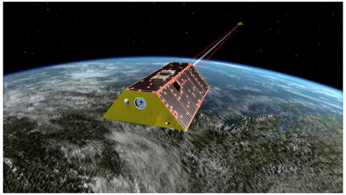 """Artwork: The Grace satellites measure the """"lumps and bumps"""" in Earth's gravity"""