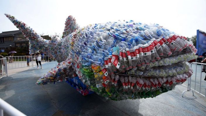 A model of a whale shark made of plastic bottles in Rizhao Ocean Park in China