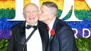 Terrence McNally (L) and his husband Tom Kirdahy