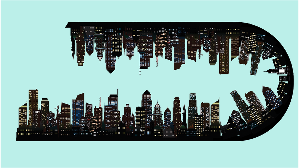Drawing of city skyline upside down
