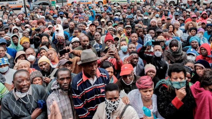 Informal traders have protested that the lockdown has left them without an income