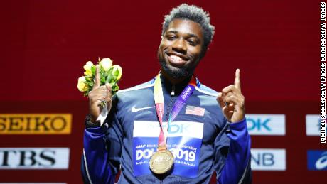 United States track star Noah Lyles won his first world title in the 200 meters in October.