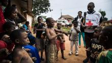 Medical teams in Beni, DRC talk to local community memberss on August 31, 2019.
