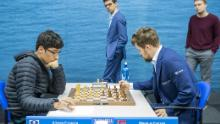 Carlsen and Firouzja face off in the ninth round of the Tata Steel Chess Tournament in the Netherlands.