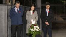 New Zealand leader Jacinda Ardern marks Anzac Day -- from her driveway