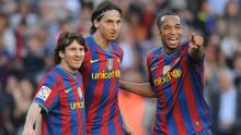 Henry with Lionel Messi (left) and Zlatan Ibrahimovic (middle) at Barcelona.