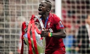 An emotional Sadio Mané celebrates Liverpool's Champions League final win last season.