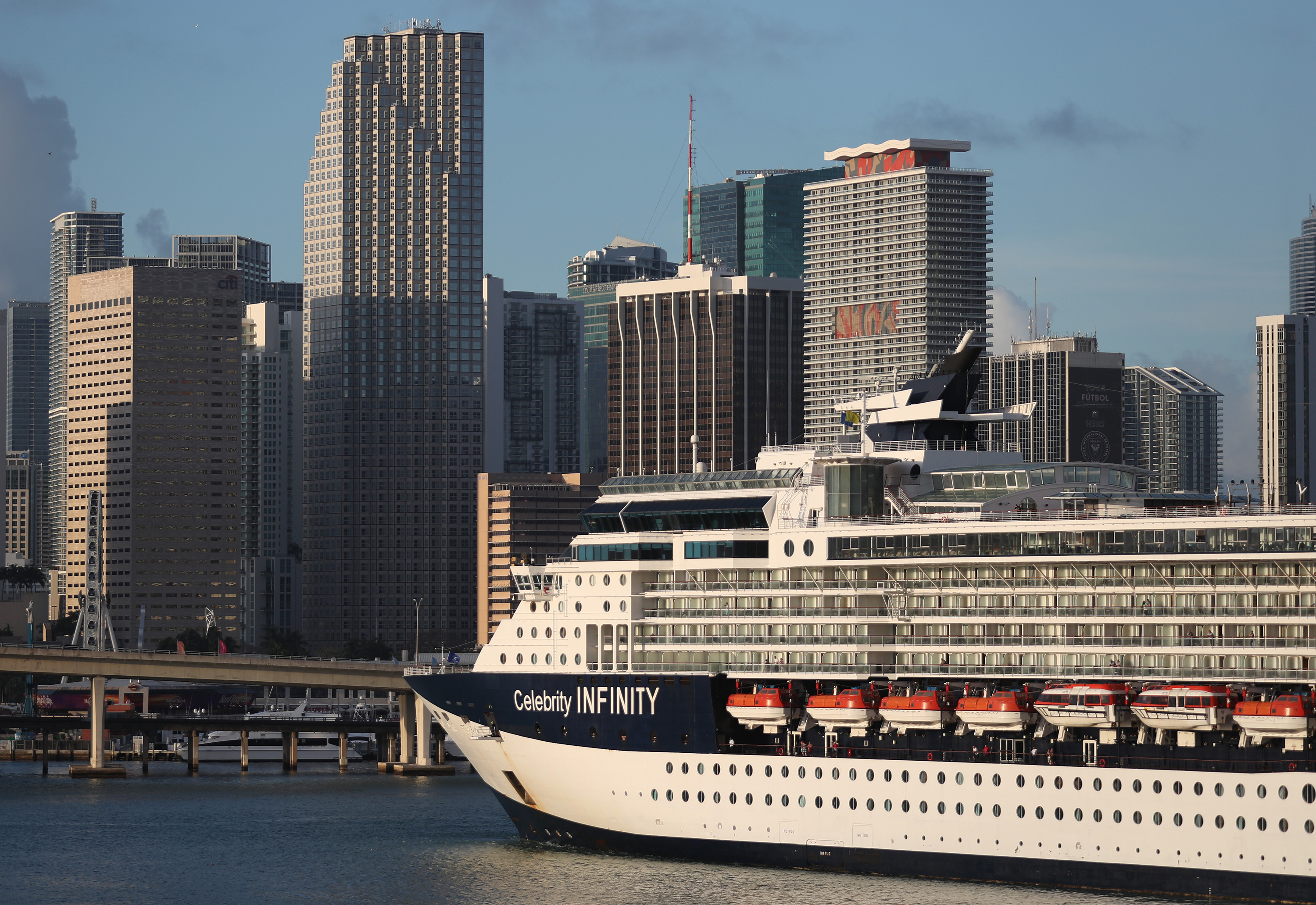 The Celebrity Infinity Cruise ship returns to PortMiami on March 14 in Miami, Florida.