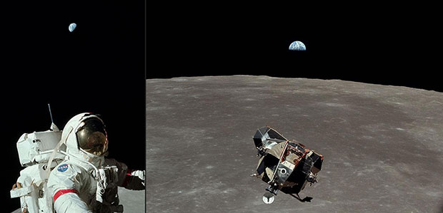 Astronaut and Earth from Apollo 17, 1972 and Lunar Module and Earth from Apollo 11, 1969