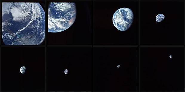 The first time humans saw our home planet Earth from deep space, from Apollo 8, November 1968