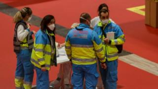 Technical staff at a Madrid temporary hospital on 31 March